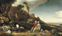 a young couple with goats and sheep in an italianate landscape by jan weenix