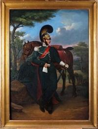 portrait d'un officier de la garde avec son cheval by jean baptiste jacques augustin