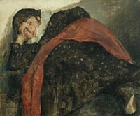 reclining woman dressed in red and black by carl fischer