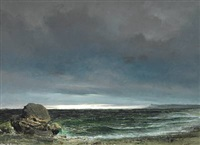 coastal scene from nordsjælland with a view over the sea towards kullen, sweden. dark grey sky, with the sun breaking through in the horizon by daniel hermann anton melbye