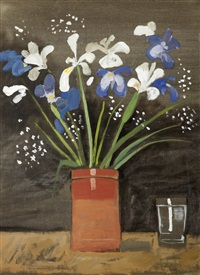 vase with iris by yannis tsarouchis