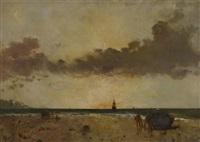 bord de mer, soleil couchant by alfred stevens