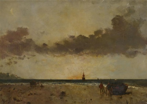 bord de mer soleil couchant by alfred stevens