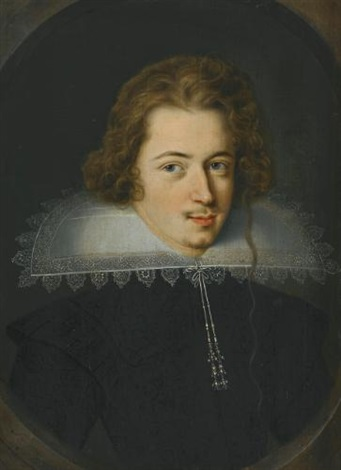 portrait of a man in a white lace ruff by dutch school 17