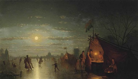 skaters before a riverside town by johann mongels culverhouse