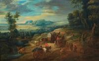 charrette dans un paysage by lucas van uden