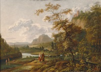 river scenery with a castle and shepherds by jan gabrielsz sonje