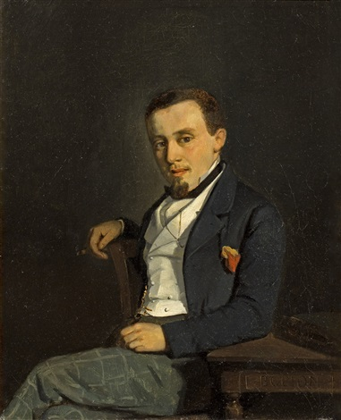portrait dhomme au cigare by francois louis david bocion