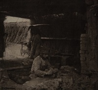 brickmaking (norfolk), plate xxii (from pictures of east anglican life) by peter henry emerson