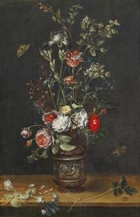 blumenstrauß mit rosen, tulpen, iris, und einer mimose in einer ornamental verzierten tonvase, mit drei schmetterlingen und einer libelle by alexander adriaenssen the elder