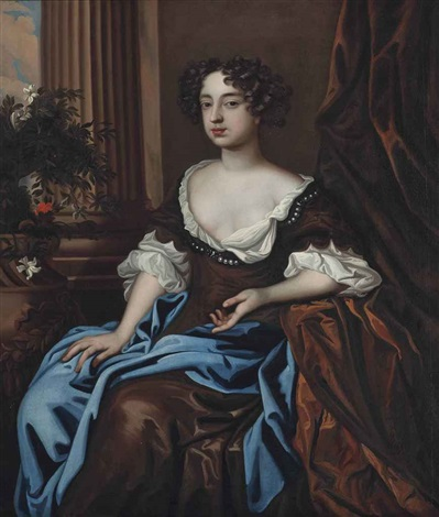 portrait of a lady traditionally identified as lady rich three quarter length in a brown dress and blue wrap seated in an interior by sir peter lely