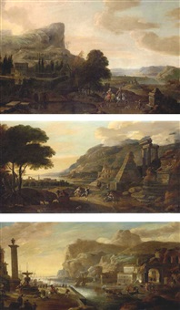 an extensive landscape with an elegant couple riding in the grounds of a country villa (+ a coastal landscape with peasants dancing near ruins; + a harbour scene with numerous figures; 3 works) by hendrick danckerts