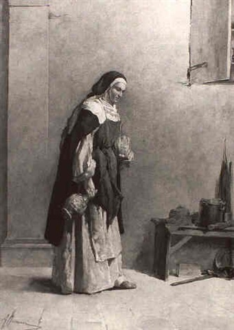 nun with wine baskets by adriano ferraresi
