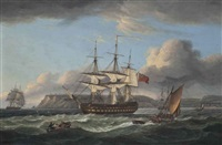 h.m.s. bellerophon making sail out of torbay with the defeated emperor napoleon aboard, 26th july 1815 by thomas luny