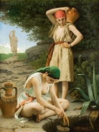 jeunes filles de tanger puisant de l'eau à une citerne by victor jacques renault