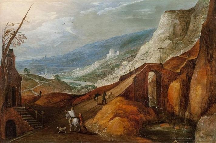 cavalier dans un paysage montagneux by joos de momper the younger