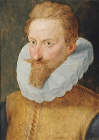 portrait of a gentleman, bust-length, in a yellow jerkin by françois clouet