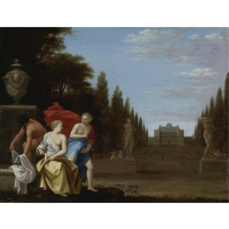 three figures by a fountain a princely residence and park beyond by toussaint gelton