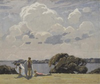 bathers, sydney harbour by frederick william leist