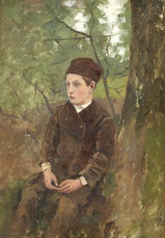 portrait de jeune garçon assis et paysage recto verso by sir george clausen