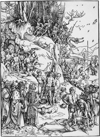 die marter der zehntausend von nikomedien by albrecht dürer