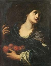 sainte présentant un plat garni de pommes by simone pignoni