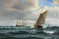 fregatten jylland och segelskutor på öppet hav by vilhelm victor bille