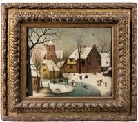 paysage d'hiver avec des patineurs by abel grimmer