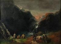 paisaje con personajes by eugenio lucas velázquez