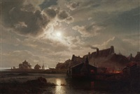 moonlit nocturnal shoreline scene with boats figures and dwellings by felix kreutzer