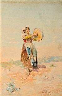 femme au tambourin (pair) by domenico de angelis