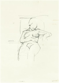 seated nude study by euan uglow