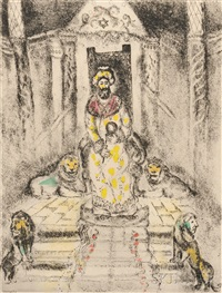 solomon on his throne, plate 81 from bible by marc chagall