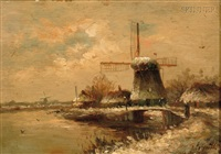 winter landscape with windmill by joseph de groot