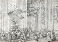 pèlerins dans la basilique saint pierre de rome by jean-robert ango