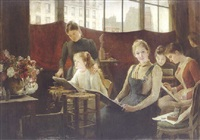 the painting class by uranie alphonsine colin-libour