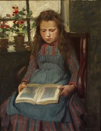 the artist's daughter asleep while reading by ernest higgins rigg