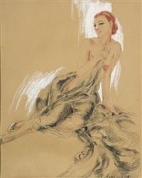 femme nue assise au drapé noir by fabien fabiano