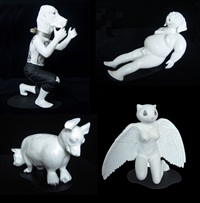 zoomanities: a. squatting dog headed man; b. cat and dog; c. pig headed man; d. angel (4 works) by ronald ventura