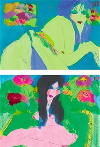 a. nude pose, b. beauty among the flowers by walasse ting