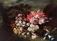 stillleben mit blumen und vögeln in einem garten, natura morta di fiori e uccelli in un giardino by giuseppe vicenzino