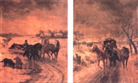 troikas in a winter landscape by vera almanoff
