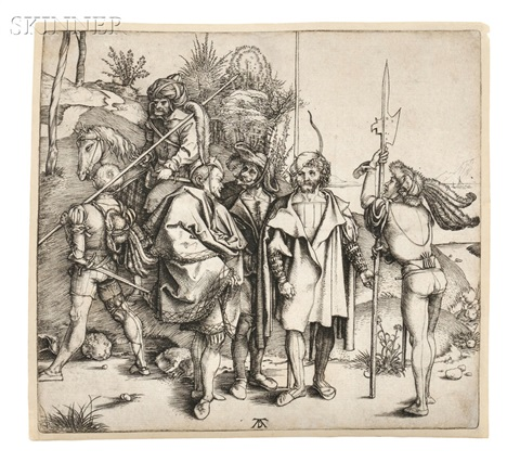 five soldiers and a turk on horseback by albrecht dürer