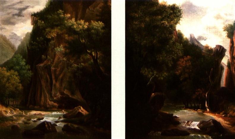 lavandière au bord de la rivière la rivière en bas de la montagne pair by perelle