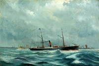 portrait of the danish steamer esbern-snare by poul baerentzen
