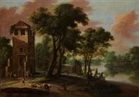 paysage fluvial animé by jacques d' arthois