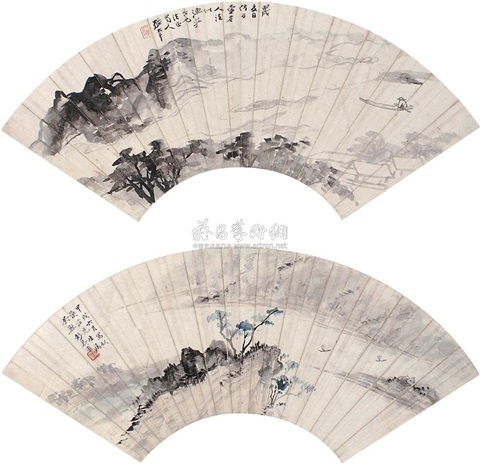 landscapes by peng gongfu and zhang daqian
