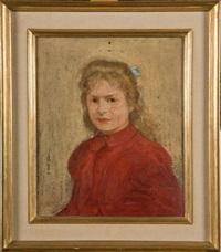portrait de fillette en rouge by henri evenepoel