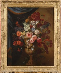 vase de fleurs devant une tenture by pieter casteels iii