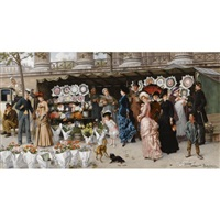 a flower market at la madeleine, paris by ladislaus bakalowicz